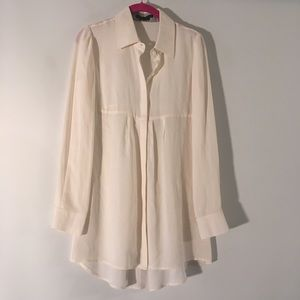 Alice + Olivia White Silk Long Sleeve Button Top M